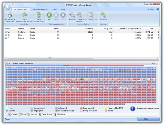Click to view O&O Defrag Server Edition screenshots