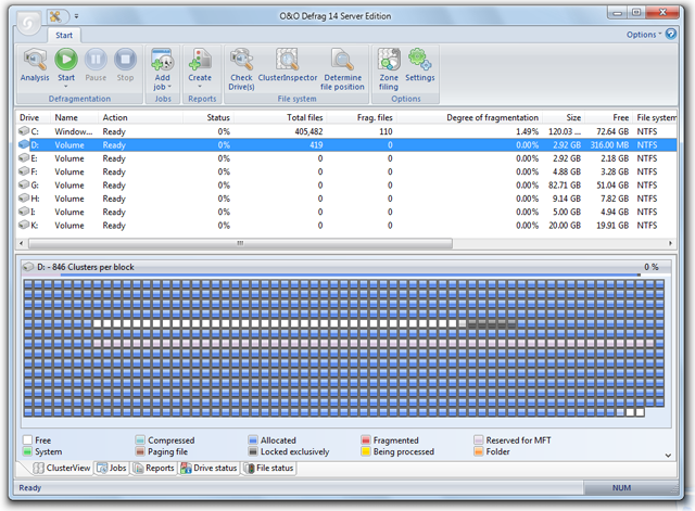 Click to view O&O Defrag 14 Server Edition screenshots