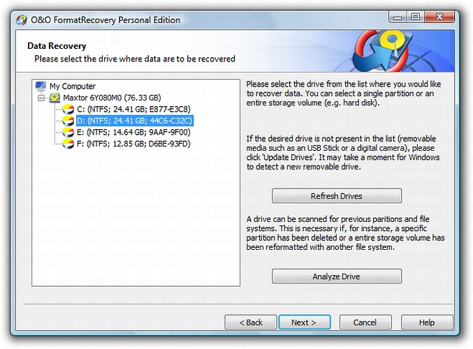 Click to view O&O FormatRecovery Personal Edition 4 screenshot