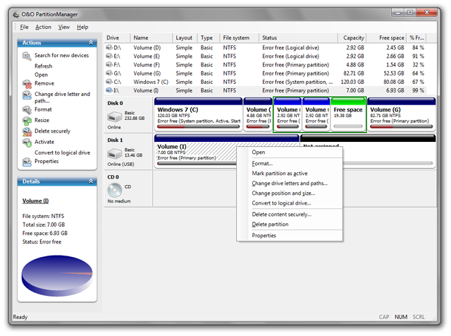 O&O PartitionManager Screenshot