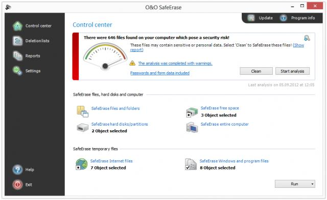 Click to view O&O SafeErase 6 screenshots