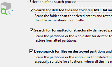 Search for deleted files and directories