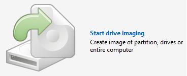 Start menu for backup process