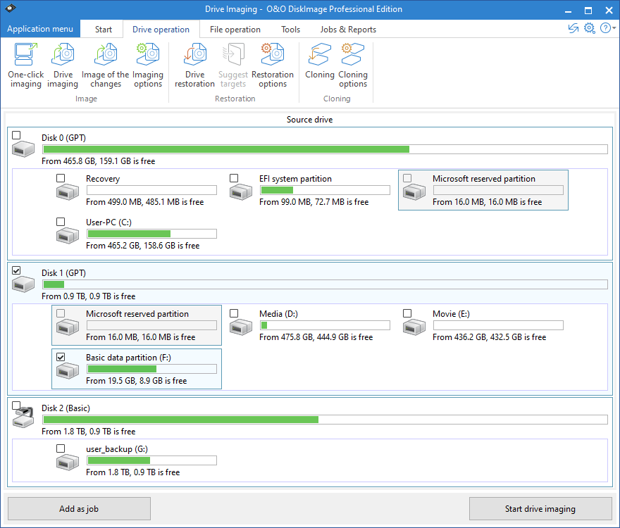 O&O DiskImage Professional screenshot
