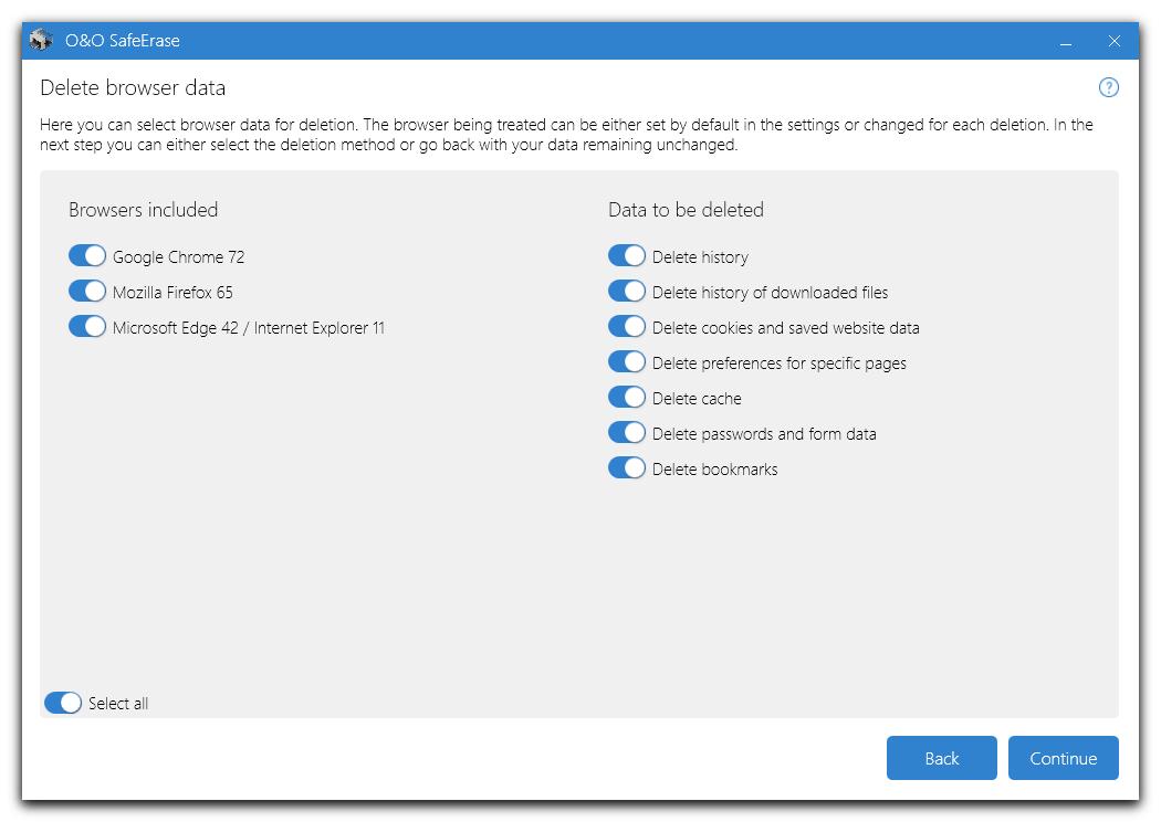 O&O SafeErase Professional screenshot